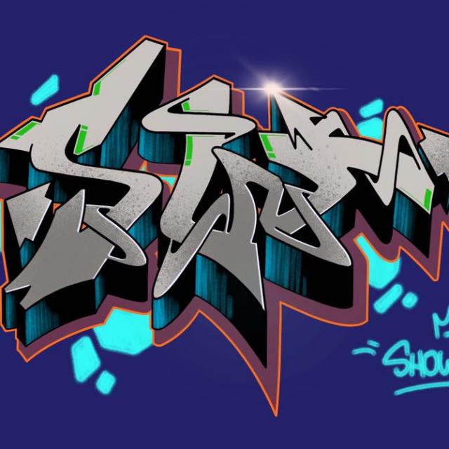 SW1 blue graffiti digital