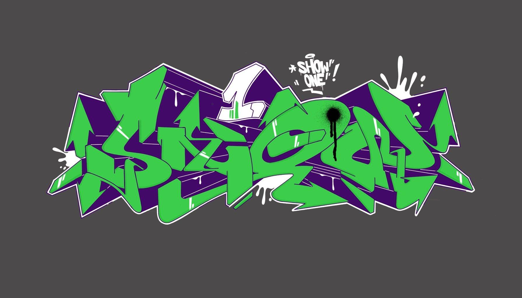 Show1 green graffiti digital
